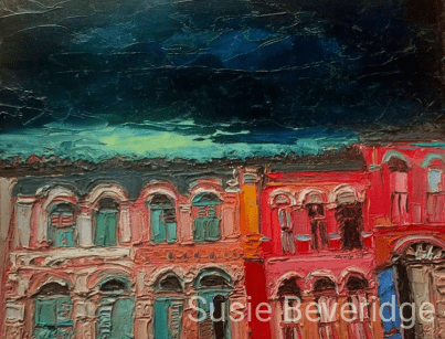 Monsoon skies over China town Singapore in oils