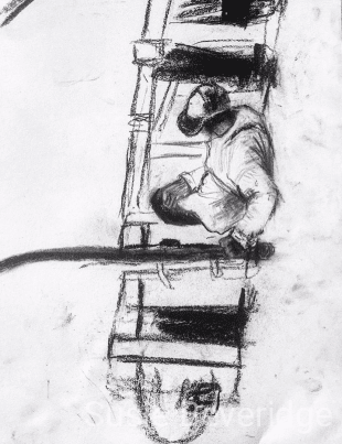 Charcoal sketch of a Jimbaran fisherman