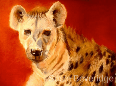 pastel sketch of a spotted hyena