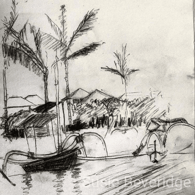 Charcoal sketch of a Balinese fisherman